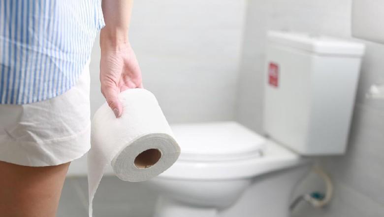 Ilustrasi wanita di toilet