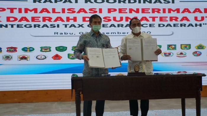 PT Pertamina (Persero) MOR I jalin kerja sama rekonsiliasi data pengelolaan Pajak Bahan Bakar Kendaraan Bermotor (PBBKB) dengan Pemerintah Daerah Sumatera Utara.