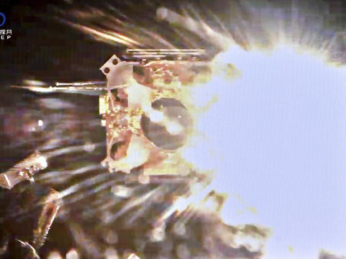 This image provided by China National Space Administration shows the ascender of Change-5 spacecraft blasting off from the moon surface on Thursday, Dec. 3, 2020. A Chinese lunar probe lifted off from the moon on Thursday night with a cargo of lunar samples on the first stage of its return to Earth, the government space agency reported, on what is expected to be a breakthrough mission for the rising Asian space power. (China National Space Administration/Xinhua via AP)