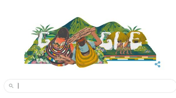 Google Doodle menampilkan Noken Papua hari ini.