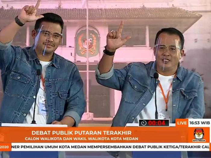 Bobby Nasution-Aulia Rachman di debat Pilkada Medan (dok. Facebook KPU Medan)