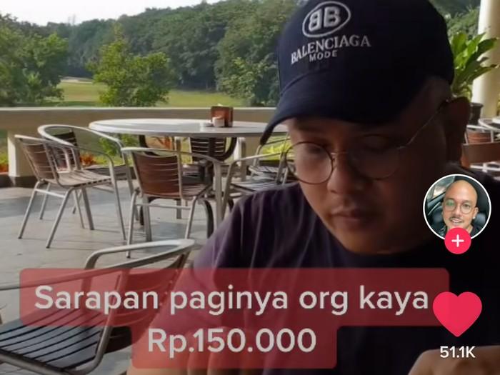 Pamer Sarapan Rp 150 Ribu, Pria Ini Sindir Orang Miskin yang Sarapan Gorengan
