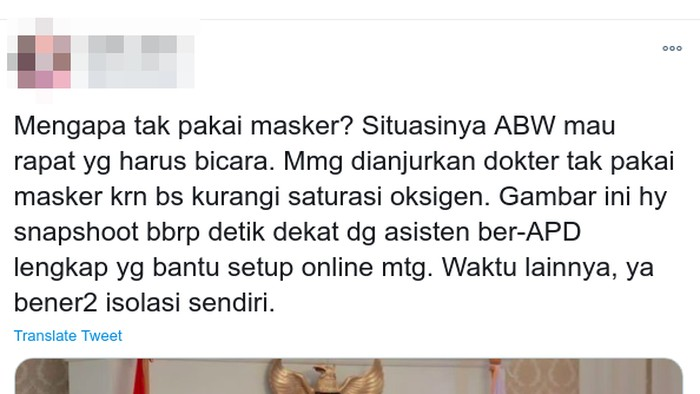 Viral foto Anies tidak memakai masker.