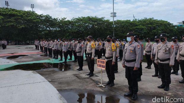 Apel pergeseran pasukan pengamanan Pilwalkot Makassar 2020 di Lapangan Karebosi (Ibnu Munsir/detikcom)