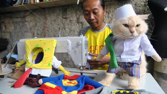 Penjahit mengerjakan pembuatan aksesoris busana untuk kucing di usingcloath, Desa Jampang, Kemang, Kabupaten Bogor, Jawa Barat, Minggu (6/12/2020). Dalam sehari, penjahit mampu menyelesaikan 10 busana untuk kucing dengan berbagai karakter profesi, tokoh animasi dan superhero yang dipesan secara daring ke sejumlah daerah di Indonesia dengan harga mulai Rp30 ribu hingga Rp500 ribu tergantung model dan tingkat kesulitan. ANTARA FOTO/Arif Firmansyah/aww.