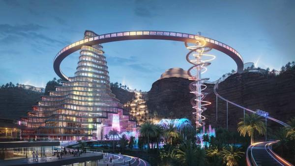 Selanjutnya ada Qiddiya Entertaiment City. Tempat ini dirancang menjadi kota hiburan terbesar dunia. (Saudi Commission for Tourism and Heritage)