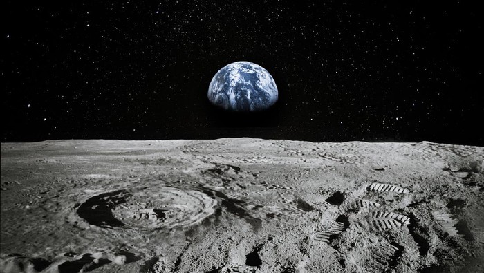 Satellite orbiting near moon.