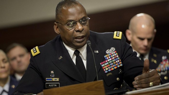 (FILES) In this file photo taken on March 8, 2016 Army General Lloyd Austin III, commander of the US Central Command, speaks during a hearing of the Senate Armed Services Committee in Washington, DC. - US President-elect Joe Biden has chosen retired General Lloyd Austin to head his Defence Department, US media reported on December 7, 2020. Lloyd Austin, who led US troops into Baghdad in 2003 and rose to head the US Central Command, has been chosen by President-elect Joe Biden to be the first African-American secretary of defense. (Photo by Brendan Smialowski / AFP)