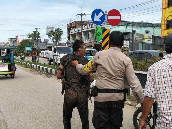Polisi amankan pria di Dumai yang tega membakar istrinya hingga tewas (dok Istimewa)