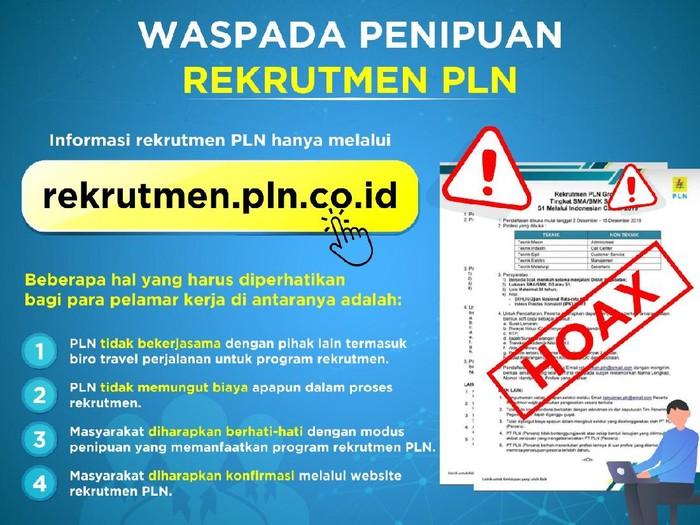 PT PLN (Persero) mengimbau masyarakat untuk berhati-hati terhadap maraknya penipuan terkait rekrutmen yang mengatasnamakan PLN.
