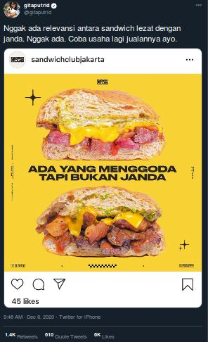 Pakai Kata 'Janda' Saat Promosi, Gerai Sandwich Ini Dikecam