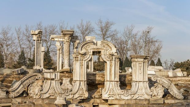 Beijing, China - December 10, 2015: Yuanmingyuan Ruins, previous Imperial Garden of Qing Dynasty, built in the 18th and early 19th century, ruined by British and French invaders in 1860.