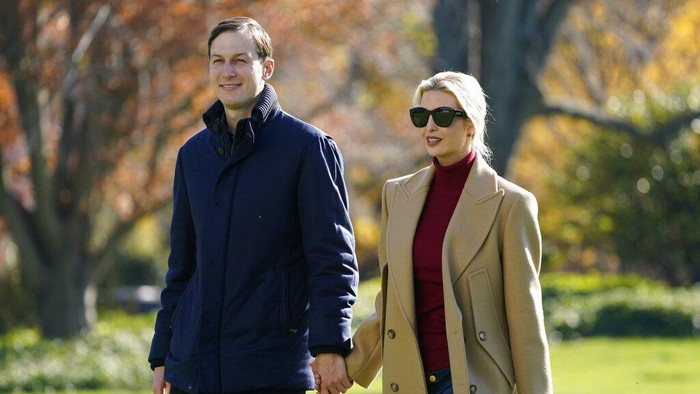President Donald Trumps White House Senior Adviser Jared Kushner and Ivanka Trump, the daughter of President Trump, walk on the South Lawn of the White House in Washington, Sunday, Nov. 29, 2020, after stepping off Marine One after returning from Camp David. (AP Photo/Patrick Semansky)