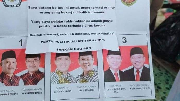 Viral surat suara Pilwalkot Samarinda ditempel tulisan keluhan.