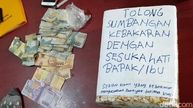 Pria di Palembang ditangkap polisi atas kasus penipuan dengan modus meminta uang sumbangan untuk korban kebakaran (Raja Adil/detikcom)