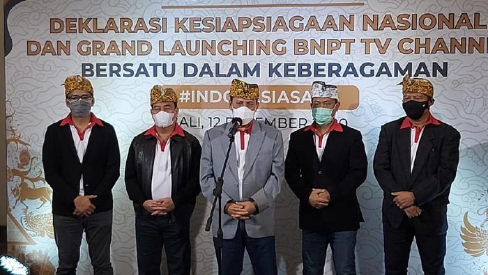Badan Nasional Penanggulangan Terorisme (BNPT) telah melaksanakan Deklarasi Kesiapsiagaan Nasional sekaligus Grand Launching BNPT TV Channel di Pecatu Hall, Bali