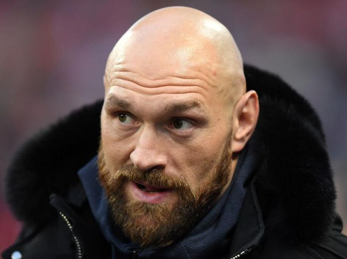 LONDON, ENGLAND - OCTOBER 27: Boxer Tyson Fury looks on during the NFL game between Cincinnati Bengals and Los Angeles Rams at Wembley Stadium on October 27, 2019 in London, England. (Photo by Alex Davidson/Getty Images)