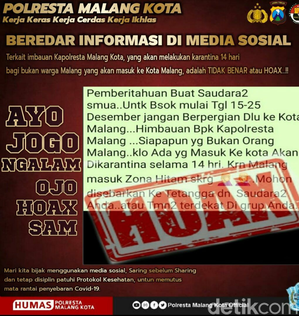 Beredar Pesan Larangan ke Kota Malang, Polisi: Hoaks