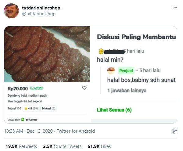 Jawaban Kocak Penjual Dendeng Babi yang Viral di Twitter