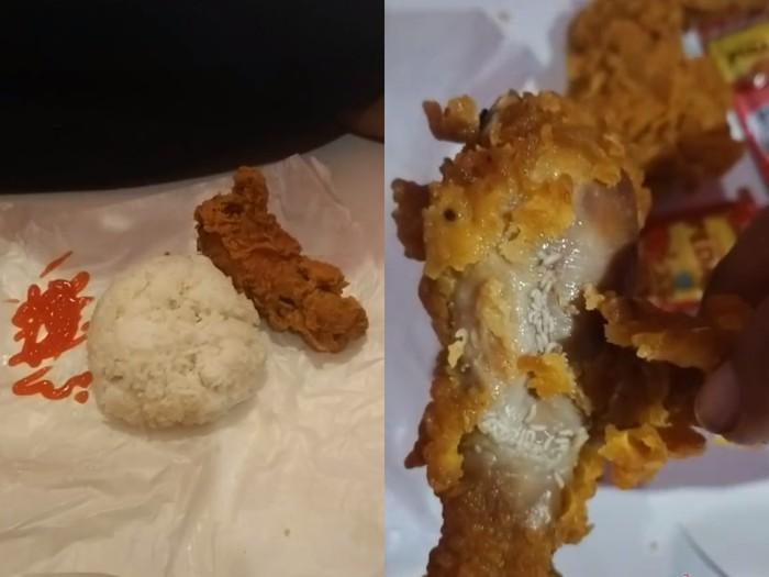 Jijik! Pria Ini Beli Fried Chicken yang Dipenuhi Telur Lalat