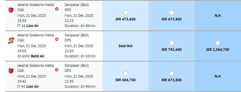 Harga tiket pesawat ke Bali
