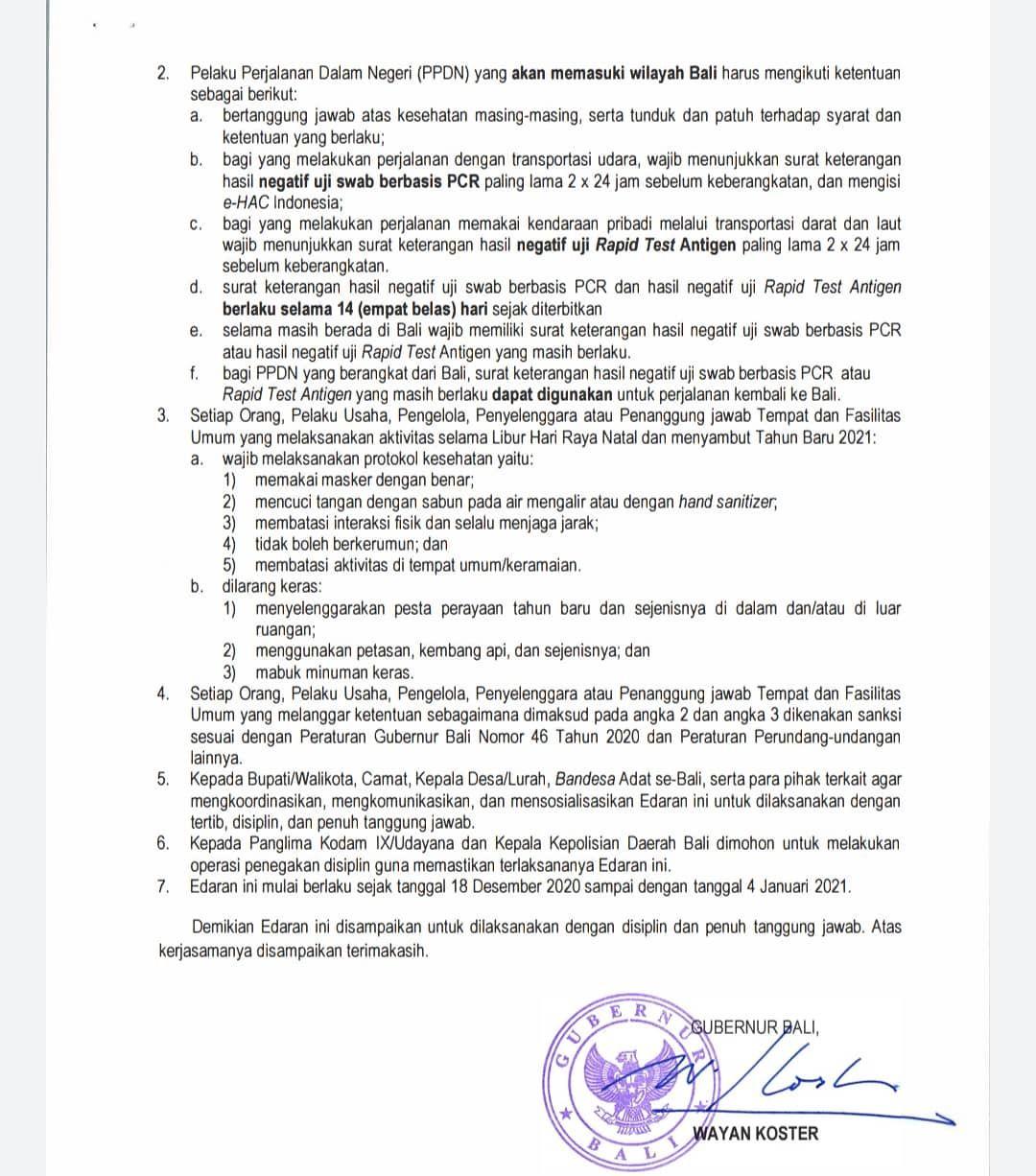 Gubernur Bali Wayan Koster mengeluarkan surat edaran yang mewajibkan wisatawan tes PCR atau Rapid Antigen sebelum masuk Bali. Ini ketentuan selengkapnya.