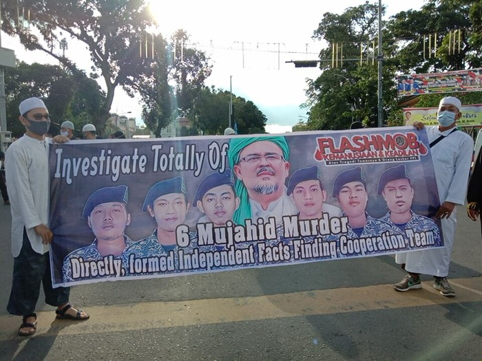 Demo tuntut Komnas HAM usut tuntas tewasnya 6 laskar FPI di Medan (Ahmad Arfah-detikcom)