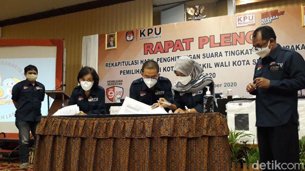 Rekapitulasi KPU: Gibran Menang Pilkada Solo, Bajo Kalah dari Suara Tak Sah