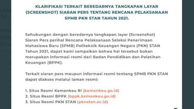 Hoaks Vs Fakta SPMB PKN STAN 2021