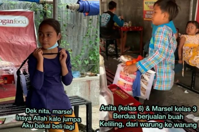 Kakak Ading di Solo Jualan Buah Keliling