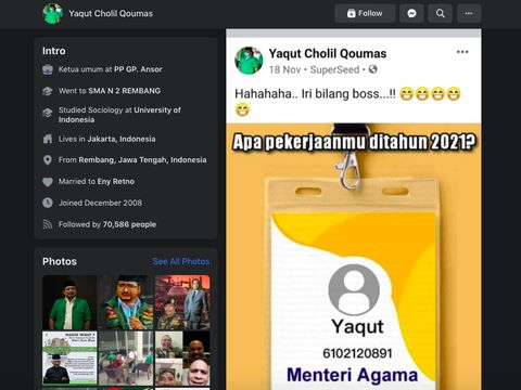 Gus Yaqut Main Game Facebook Jadi Menteri