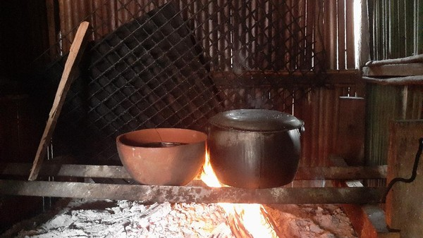 Bagi masyarakat Sentani, tanaman keladi bukanlah tanaman hias, melainkan tanaman untuk dimakan. Batang dan daun keladi merupakan bumbu utama masakan khas Sentani, yaitu presto ikan danau dengan wadah gerabah. (Hari Suroto/Istimewa)
