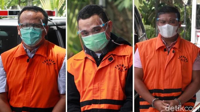 3 tersangka kasus korupsi ekspor benih lobster (benur) tiba secara hampir bersamaan di gedung Komisi Pemberantasan Korupsi (KPK), Jakarta, Rabu (23/12/2020).