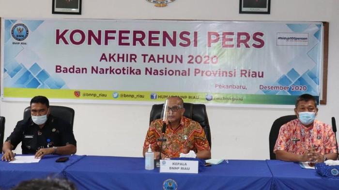 Konferensi pers di BNN Riau (Raja Adil-detikcom)