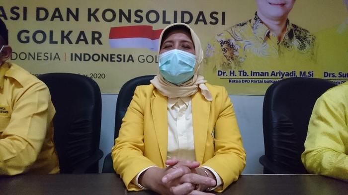 Calon Wali Kota Cilegon, Ratu Ati Marliati terpilih secara aklamasi menjadi Ketua DPD II Golkar Cilegon (M Iqbal/detikcom)