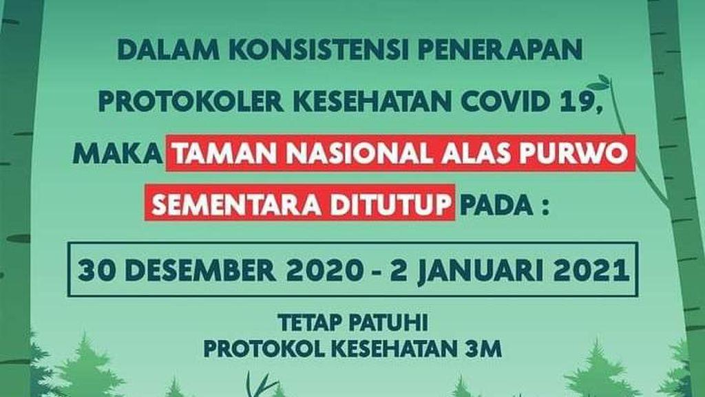 Taman Nasional Alas Purwo Ditutup Selama Libur Akhir Tahun