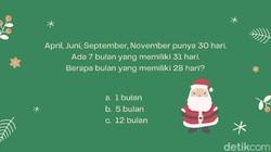 Mengisi libur Natal kali ini, ada beberapa teka-teki yang bisa mengasah ketajaman otak. Sempatkan untuk melatih daya pikir agar tidak cepat tumpul.