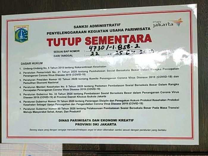 Hotel di Jakarta Barat disegel (Dok Istimewa)