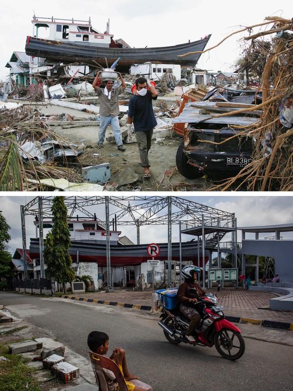 Saat tsunami 2004 lalu sebuah kapal nelayan terhempas dari laut dan nyangkut di atap rumah. Kini kapal yang menjadi salah satu korban keganasan gelombang tsunami itu dijadikan monumen dan salah satu lokasi wisata tsunami oleh Pemerintah Kota Banda Aceh. Ulet Ifansasti/Getty Images.
