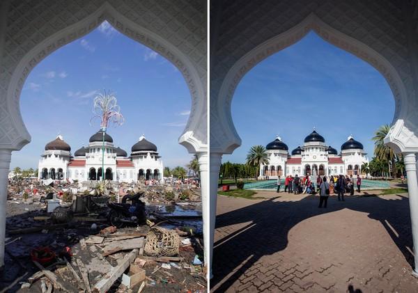 Foto ini menunjukkan Masjid Baiturrahman usai diterjang tsunami pada 2004 silam dan saat dikunjungi wisatawan pada 2014 lalu. Ulet Ifansasti/Getty Images.