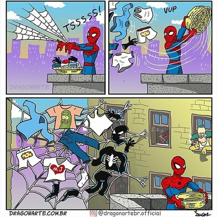 Ilustrasi superhero saat sedang libur
