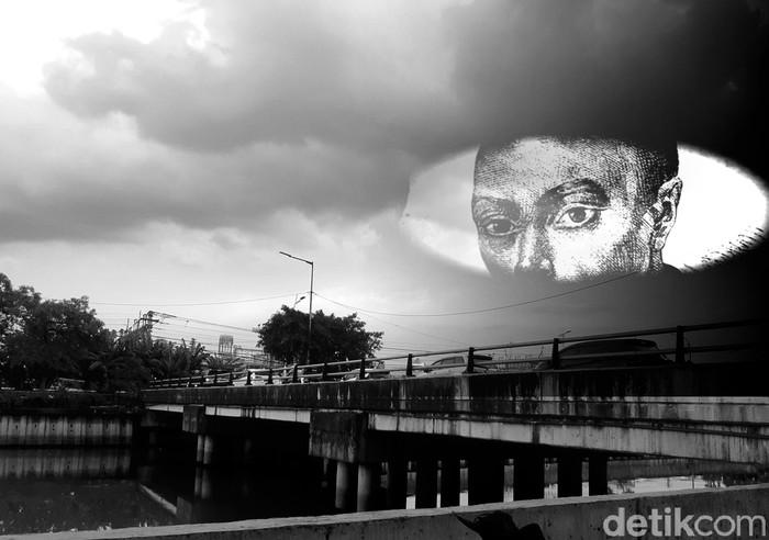 Jembatan Ancol kini, ilustrasi lokasi legenda Siti Ariah vs centeng Oei Tambah Sia, hingga cerita populer Si Manis Jembatan Ancol. (Danu Damarjati/detikcom)