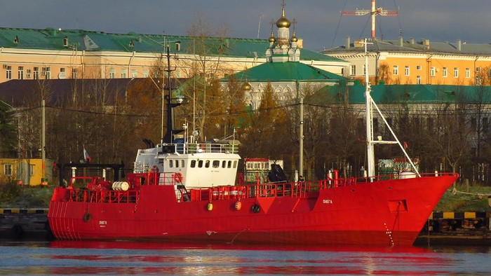 In this photo released by Alexander Kokorin, fishing trawler Onega is moored in Arkhangelsk, Russia, Oct. 31, 2020. Russian emergency officials say a Russian fishing trawler has sank in the northern Barents Sea and 17 of its crew have gone missing. They say two crew members have been rescued. The Russian Investigative Committee said the vessel with 19 crew on board capsized and sank on Monday morning, Dec. 28, 2020. (Alexander Kokorin via AP)