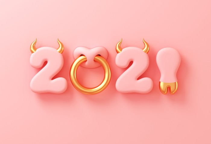 2021 With Numbers As Bull Horns, Hoof And Nose Ring On Pink Background. Concept Of Chinese New Year Of The Ox. 3D Illustration.