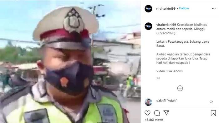 Pesepeda ditabrak minibus saat polisi memberikan imbauan