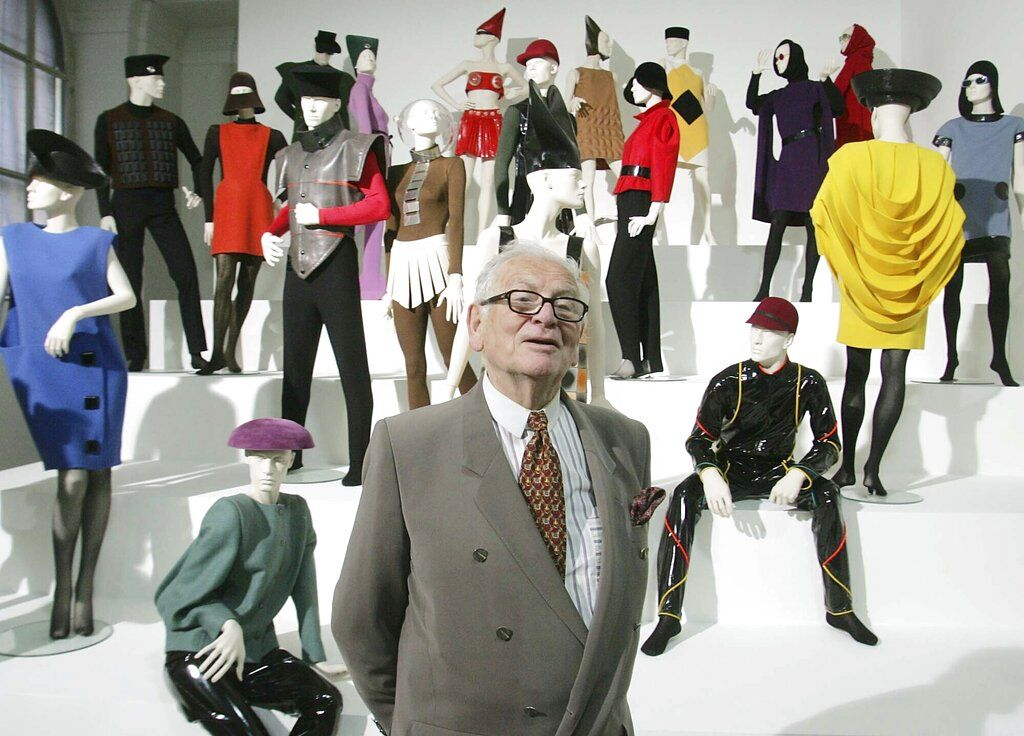 FILE - In this May 3, 2005 file photo, French fashion designer Pierre Cardin presents his exhibition