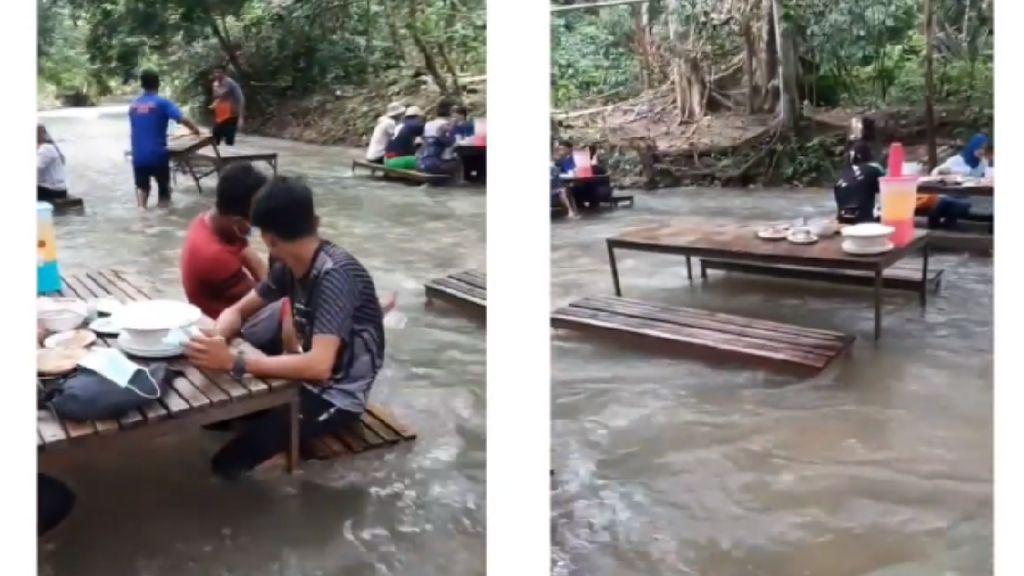 Dinilai Berbahaya, Restoran di Tengah Arus Deras Sungai Ini Dikritik Netizen