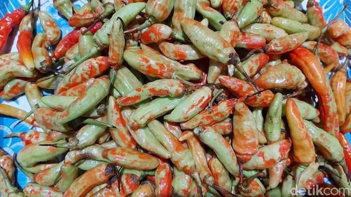 Barang bukti cabai rawit diduga dicat warna merah yang beredar di sejumlah pasar di Kabupaten Banyumas, Rabu (30/12/2020).