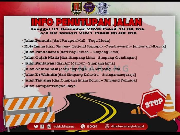 Daftar jalan di Kota Semarang yang ditutup saat malam Tahun Baru 2021.