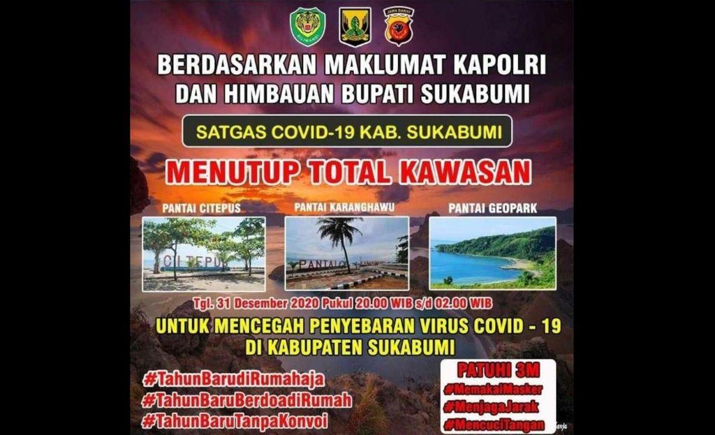 Sukabumi tutup tempat wisata di malam tahun baru